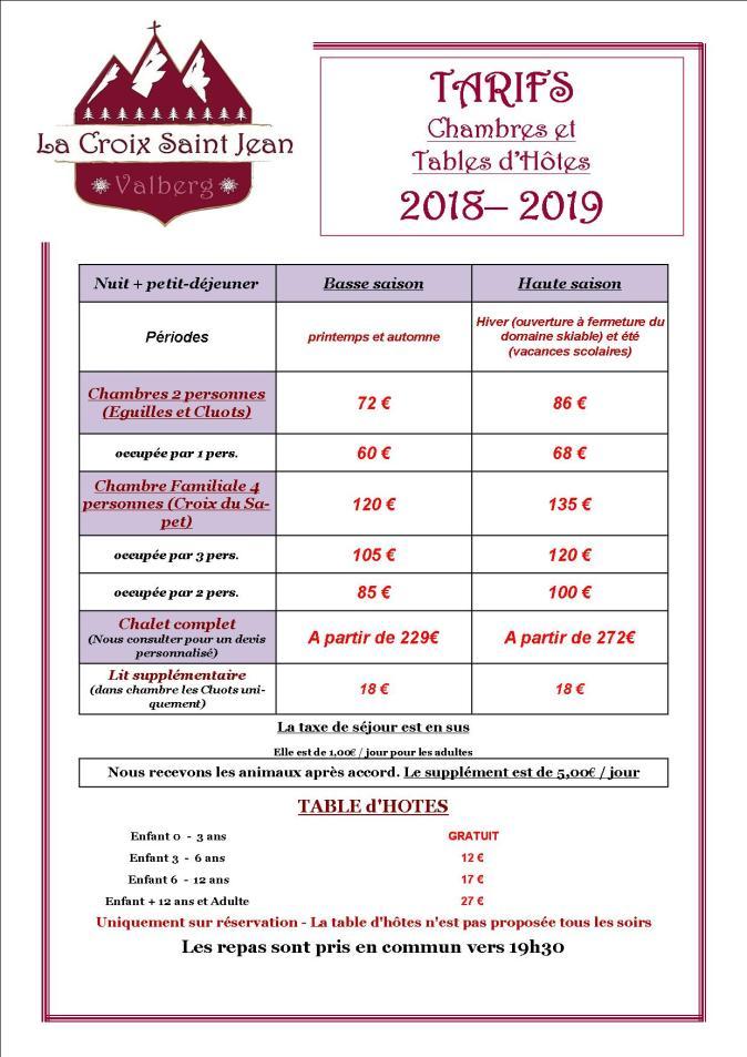Tarifs complets modifiés 2018-2019