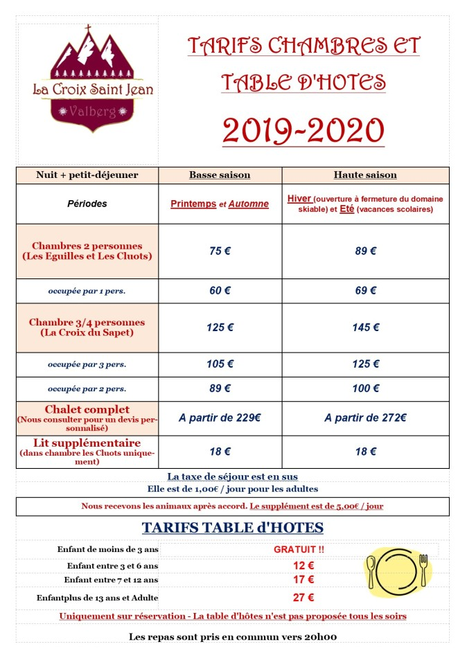 Tarifs complets 2020